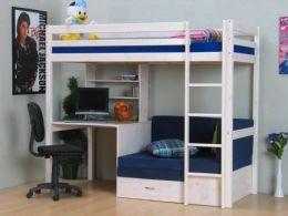 Thuka Kids høyseng m/sofa med lamell bunn, madrass, skrivebord og reol hvit/blå. Kr 6599. mobel24.no Drammen