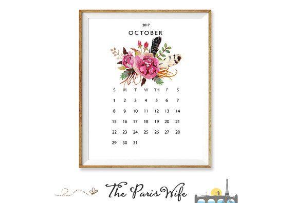 2017 Printable Calendar Instant Download Floral Calendar 2017 Monthly Calendar 2016