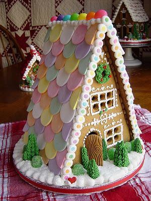 Gingerbread House Inspiration~~Could do this with cardboard and for roof, paint round wooden disk,ect.