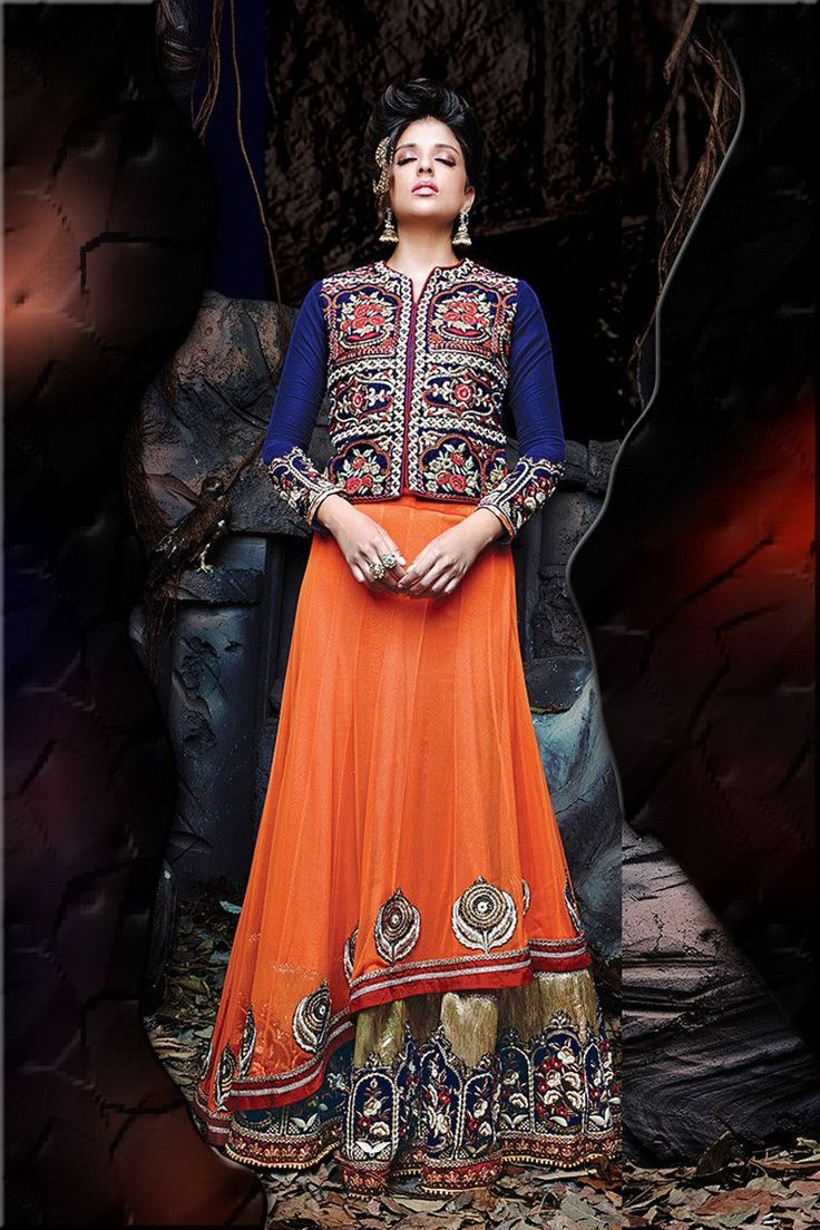 Buy Orange Net Designer Lehenga Online in low price at Variation. Huge collection of Designer Lehenga, Wedding Lehenga, Lehenga Choli, Ghaghra Choli, Bollywood Lehenga and Bridal Lehenga online for women at Variation. #designer #designerlehenga #lehenga #onlineshopping #latest #lowprice #variation  #weddinglehenga #lehengacholi #bollywoodlehenga #bridallehenga. To see more - https://www.variation.in/collections/lehenga