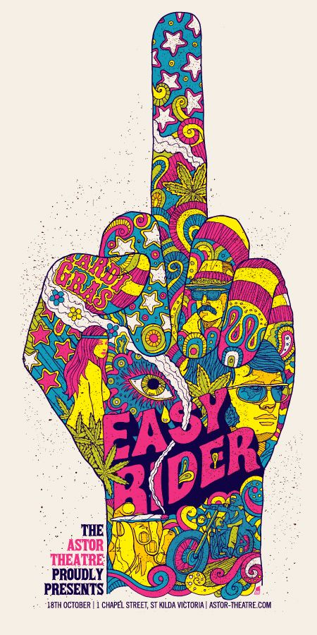 """Easy Rider"" (Dennis Hopper, 1969). Psychedellic Film / Movie Poster"