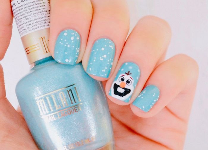 Nail art: Olaf do filme Frozen