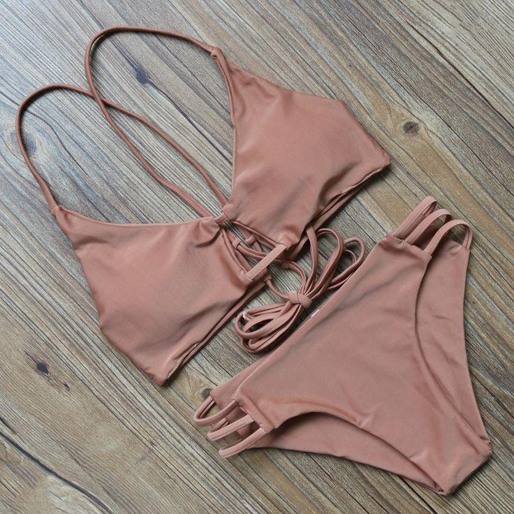 Biquinis 2017 New Style Sexy Halter Bandage Swimsuit Push-up Bikini sets Coffee 2 piece Swimwear Top + Thongs Bottoms