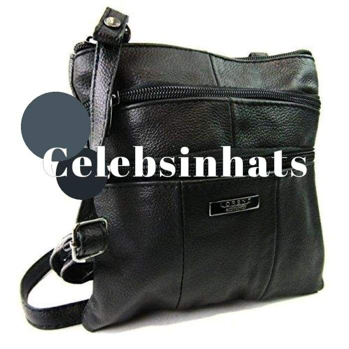 Ladies Real Leather Over Crossover Body Small (Black)  Presents  Christmas   Celebsinhats cd69be570bed