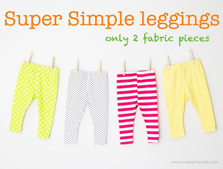 Would you like to make a simple pair of leggings? Or 6? Follow this tutorial to make these super simple leggings with only 2 pieces of fabric!