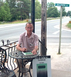 """Book signing in Baldwin, Ontario, the actual setting for my first novel, """"Two Irish Lads."""" It was a marvellous day, a homecoming (because I lived on a few miles away), and I met friends and family I hadn't seen in 50 years."""
