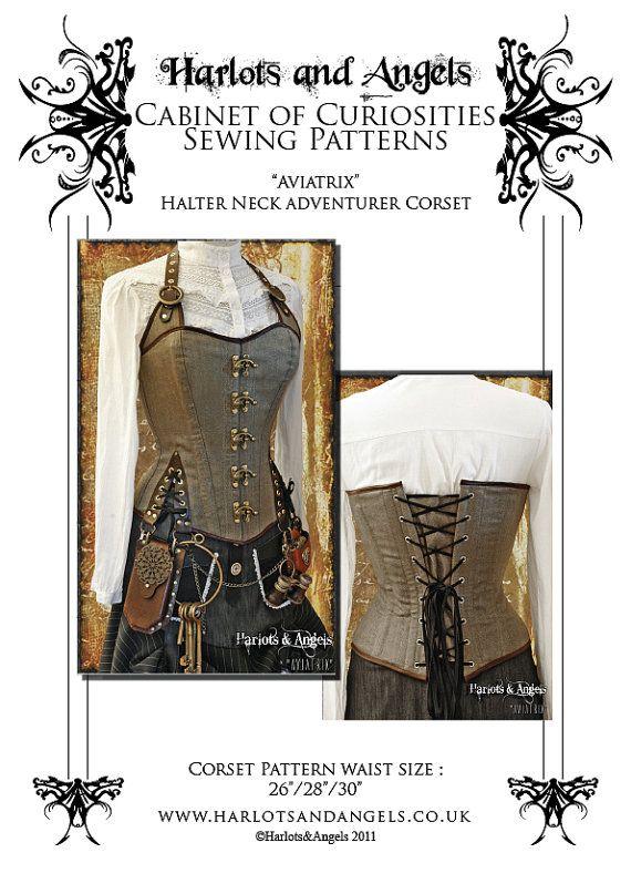 Steampunk  / Pirate corset Halter neck style adventurer corset full size paper pattern - size medium