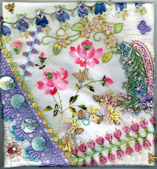 crazy quilt blocks   Floral Crazy Quilt Block 4