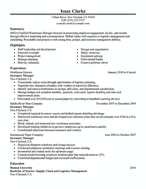 Mer enn 25 bra ideer om Warehouse resume på Pinterest - warehouse sample resume