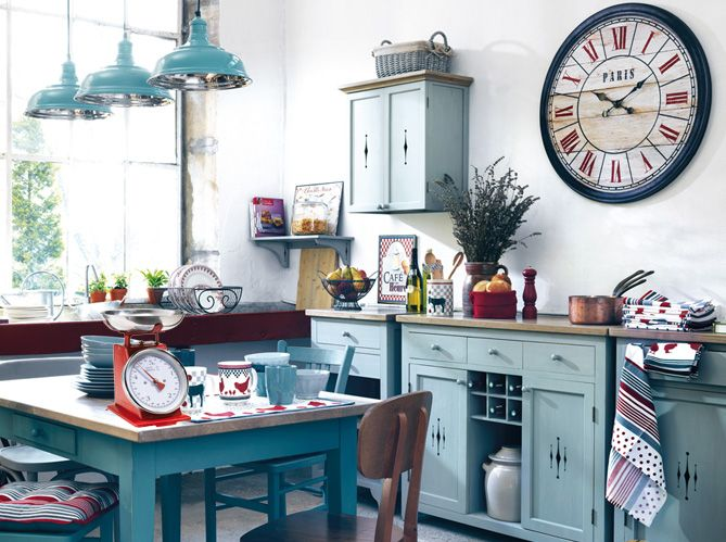 Time for Paris! French blue cabinets lend a touch and look of France