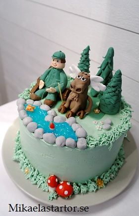 Mikaelas Tårtor - Tårtor, Cupcakes & Övriga bakverk Hunting cake , moose , fishing , hunter