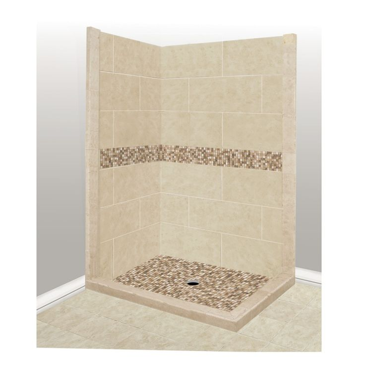 American Bath Factory Mesa Medium with Mesa Mosaic Tiles Sistine Stone Wall Stone Composite Floor Rectangle 7-Piece Corner Shower Kit (Actual: 80-in x 42-in x 48-in)