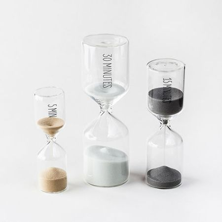 This beautiful set of three sand timers is the perfect intersection of form and function.Includes: 5, 15, and 30 minute timers. 4.75