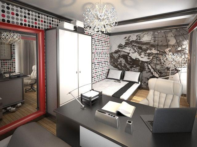 wandgestaltung jugendzimmer junge schwarz weiß rot mustertapeten modern