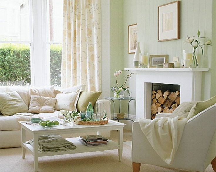Best Creamy White Living Room With Accents Of Very Light Green 400 x 300
