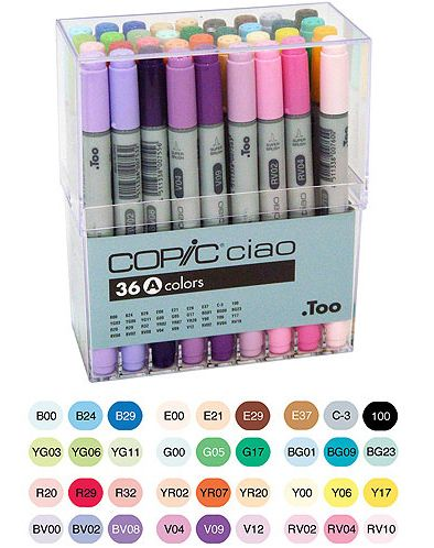 Too Corporation - Copic Ciao - Dual Tip Markers - 36 Piece Set at Scrapbook.com $146.72 - if anyone wants to get these for my birthday I'm ok with that!! ha ha!!