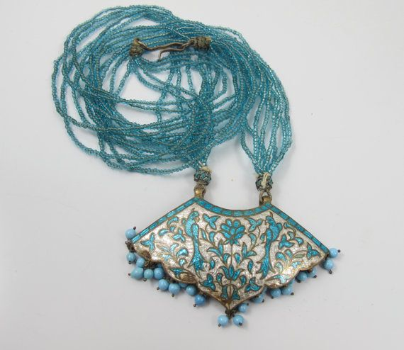#VogueTeam #EtsyGift #vintage Indian Lac Enamel Necklace Vintage Turquoise White Gold Silver 1960s Lac Enamel Blue Glass Seed Bead Necklace