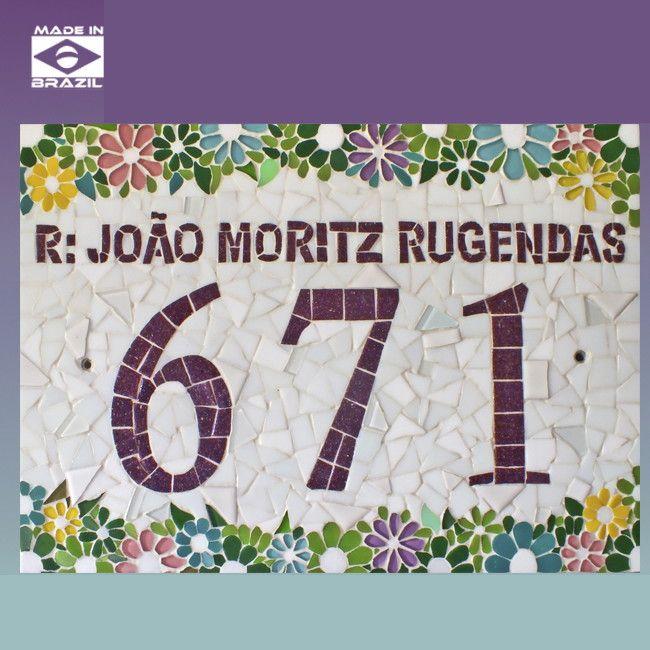 Número em mosaico no tamanho:   42x29 - A3 - tamanho G R$ 500,00   29x21 - A4 - tamanho P R$ 250,00    Feito em base de piso ou tela de fibra de vidro.     POLÍTICAS DE TROCAS E DEVOLUÇÕES  Os mosaicos solicitados, produzidos sob encomenda (Ex. Placas com números residenciais, Nomes diferenciados...
