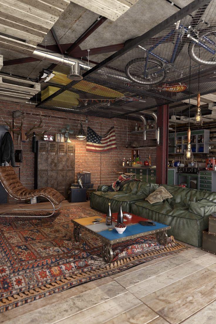 Urban Style für Wohnung Interior Design-Ideen, die geeignet für Männer gelten – Glubbs