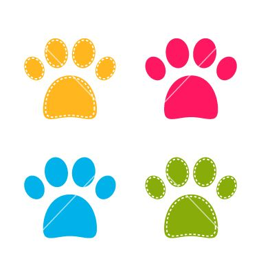 Cute colorful doggie paws isolated on white vector 1551533 - by lordalea on VectorStock®