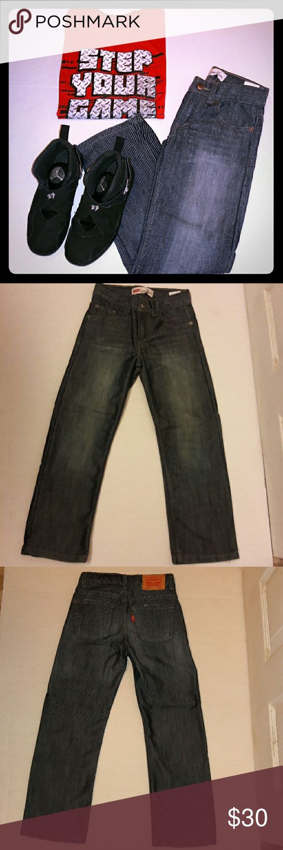 Levis 514 Boys Jeans PERFECT CONDITION...Levis 514 long pant jeans...they have the signature 5 pockets..are a slim straight fit..zipper and bottom closure..maybe worn once..I don't even think that..my son grew to quick!..Slight fades that where purchased that way...Some pictures show zigzag that's not there..Any questions please ask! Purchased at Macy's..Great for the little guy in your life :) Levi's Bottoms Jeans