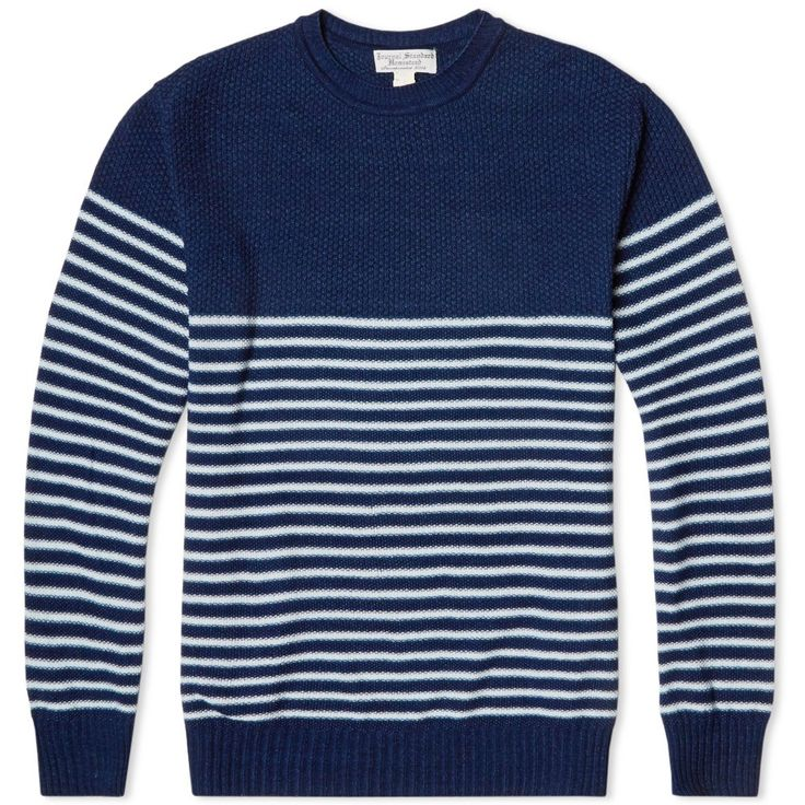 J.S. Homestead Indigo Links Striped Crew Neck Knit (Navy)