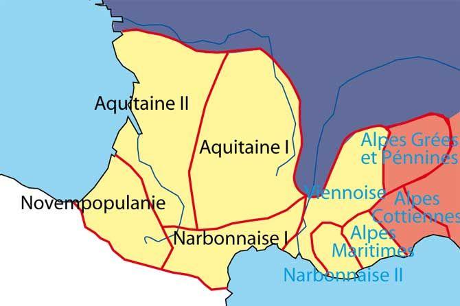 Carte provinciale sous Dioclétien 305 © Patrick Verlinden.         Le Diocèse des 7 Provinces (Jaune) inclut la Provence actuelle  (Provinces en Bleu) qui intègre également une partie des Alpes Cottiennes et des Alpes Grées et Pennines. Cette structure constituera la base du Pays d'Oc.