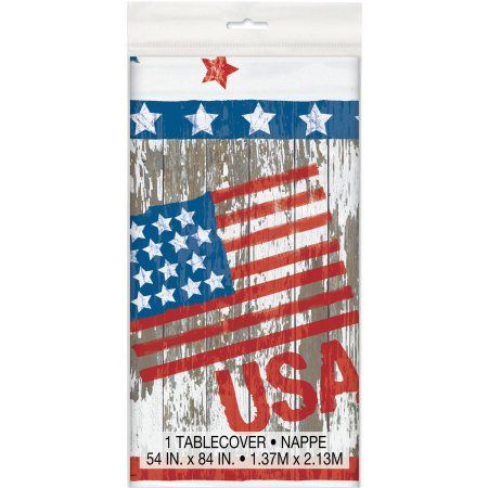 Plastic Vintage American Flag Table Cover, 84 inch x 54 inch, Multicolor