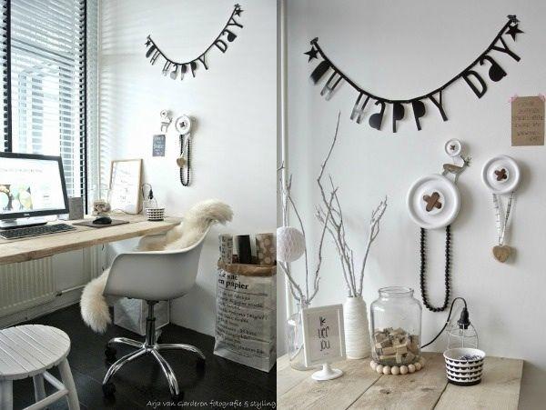 Woordenslinger / knoophangers / houten, witte en zwarte details...