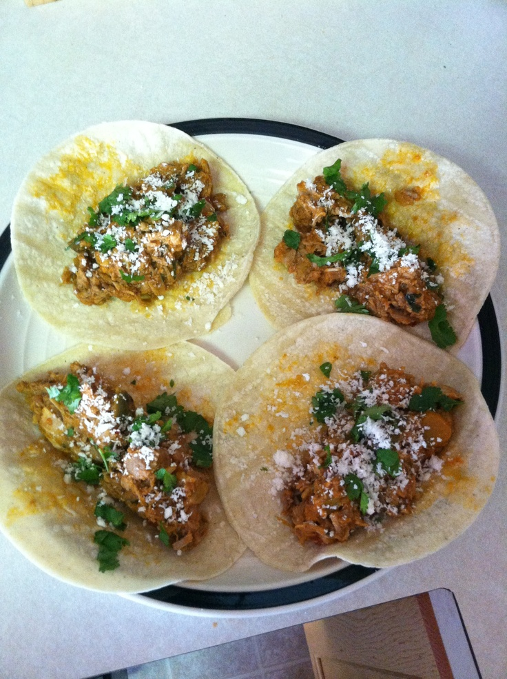 Pulled pork shoulder  taco's with cilantro and queso cotija cheese