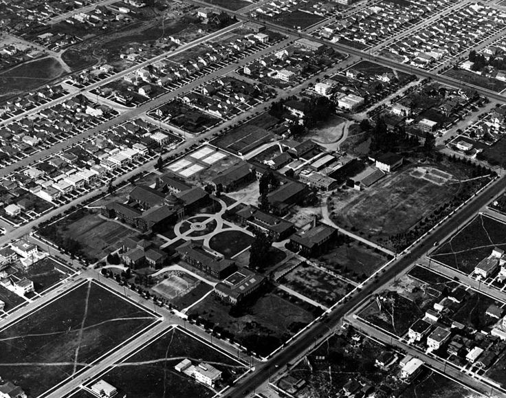 LOS ANGELES:  (1922)* - Aerial view of the old Vermont Avenue campus of the University of California, Los Angeles, which later became Los Angeles City College. Vermont Avenue runs from the bottom of the photo to the right.  Water and Power Associates