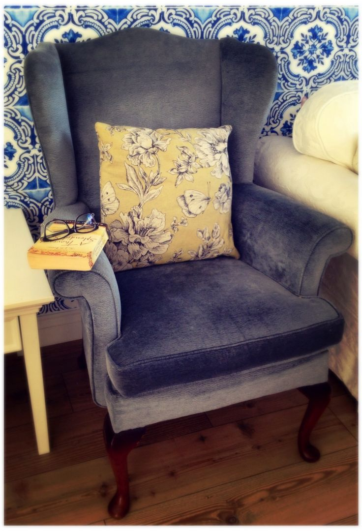 Wingback Chair  This beautiful chair was £15 from a house clearance. Re-upholstered in a grey-blue fabric. Perfect.