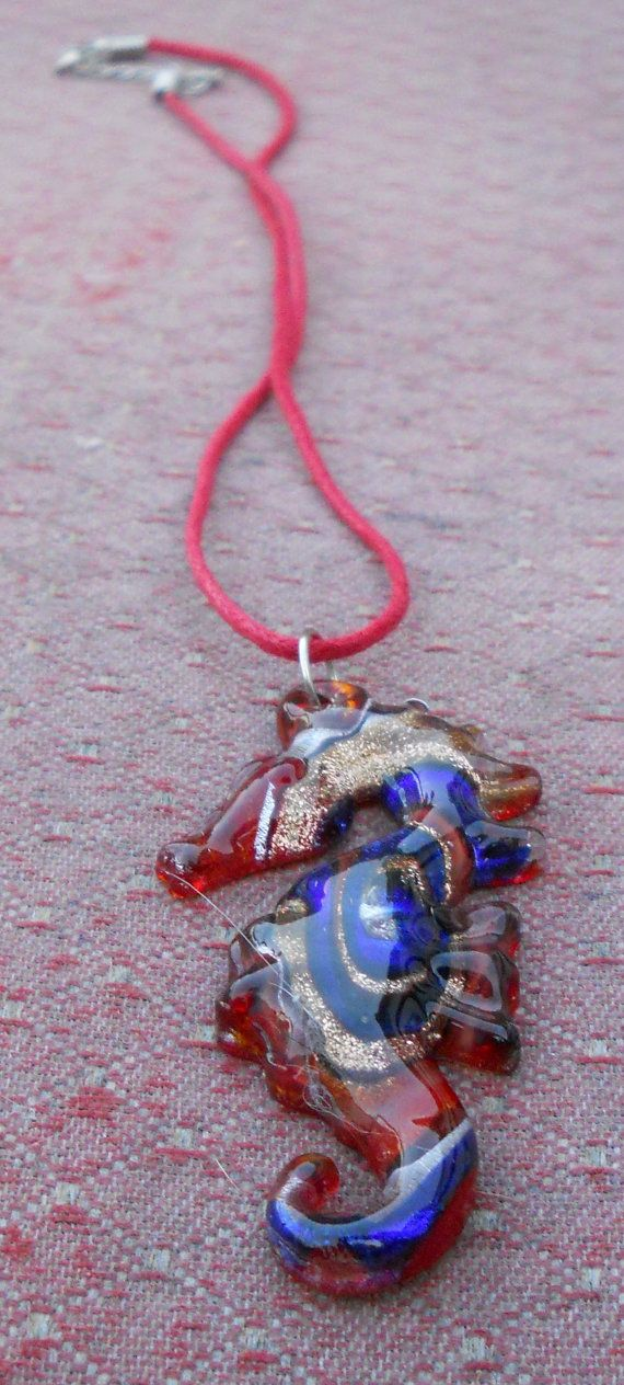 Priceless glass sea horse necklace by CelestialStudio13 on Etsy