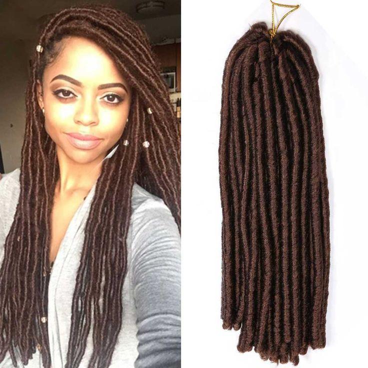 5*15 Strands Synthetic Jumbo Dreadlocks Crochet Braid Hair Extensions Brown 15'' #Dsoar #BraidHairExtension