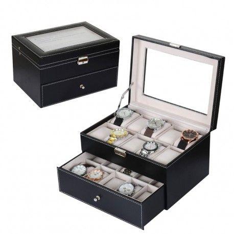 Mooie horlogedoos voor het opbergen van al je kostbare horloges. Deze horlogedoos heeft ruimte voor 20 grote horloges. Met een display, die je coole horloges tonen. Ziet er mooi en stijlvol uit in zwart leer met witte stiksels. Een elegante oplossing voor het opbergen van meerdere horloges. De doos heeft een afmeting van28x20x16,5 cm.