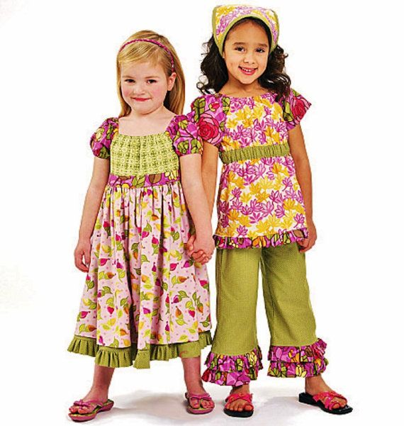 photo of childrens capri pants with ruffle | Ruffle Pants Pattern, Girls Easy Dress Pattern, Girls Top and Pants ...