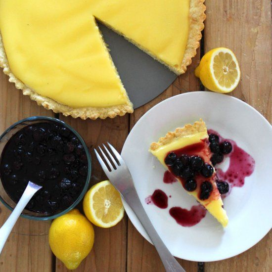 Lemon Curd Cheesecake Tart with Blueberry Topping. A light and refreshing combination!