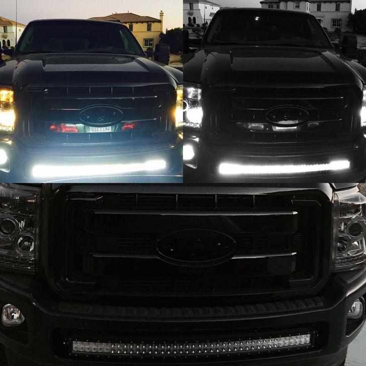 2000 ford excursion conversion to 2015 Ford F-250 super duty 40 inch curved light bar, halos, and LEDs