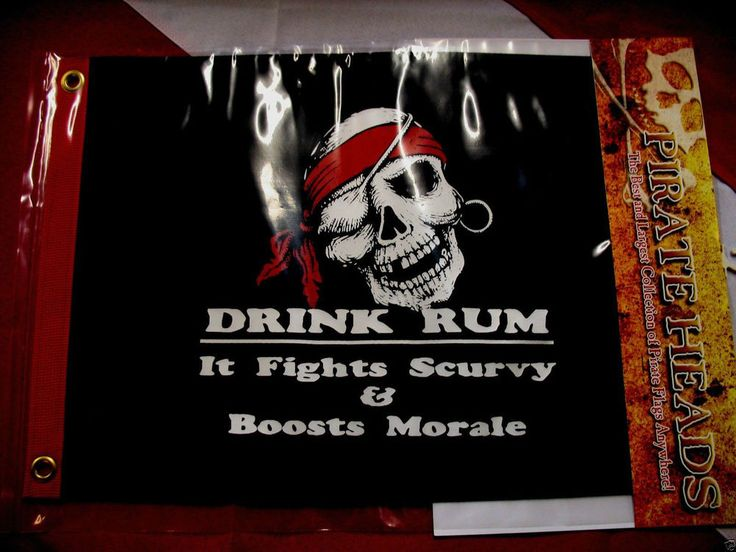 Pirate flag rum prevents scurvy fun novelty gift 12x18 grommets two sided 019