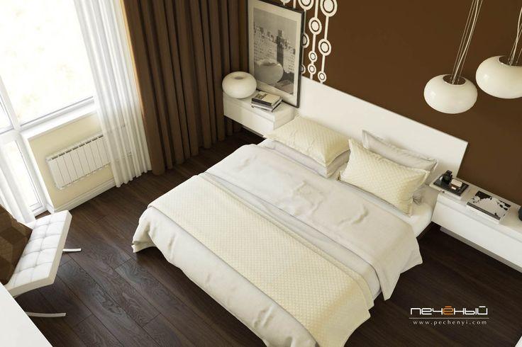 """Дизайн интерьера спальни трёхкомнатной квартире. Современный стиль. Белый, коричневый, бежевый. Студия дизайна """"Печёный""""."""