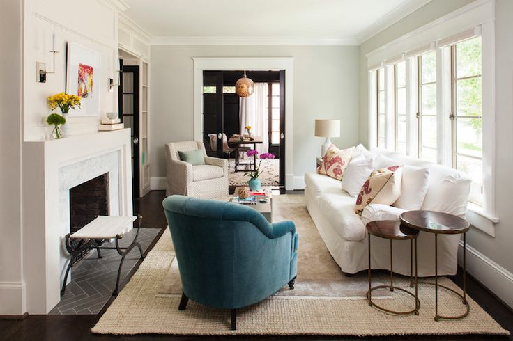 Gorgeous Living Room With Pale Gray Walls And Dark