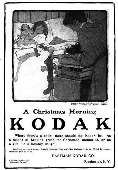 Kodak Eastman Xmas morning vintage ad