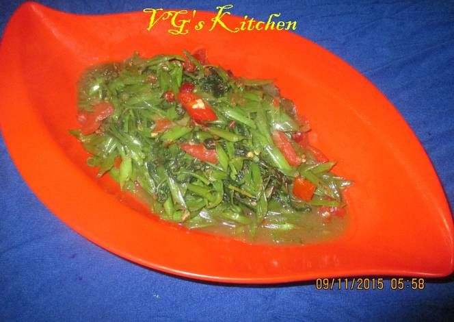 Water Spinach Sauteed with Dried Shrimp Paste (PONTIANAK) Recipe -  Are you ready to cook? Let's try to make Water Spinach Sauteed with Dried Shrimp Paste (PONTIANAK) in your home!
