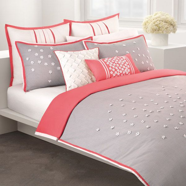 Really cute for a sophisticated little girls room! DKNY Scattered Daisy Duvet Cover, 100% Cotton - Bed Bath & Beyond