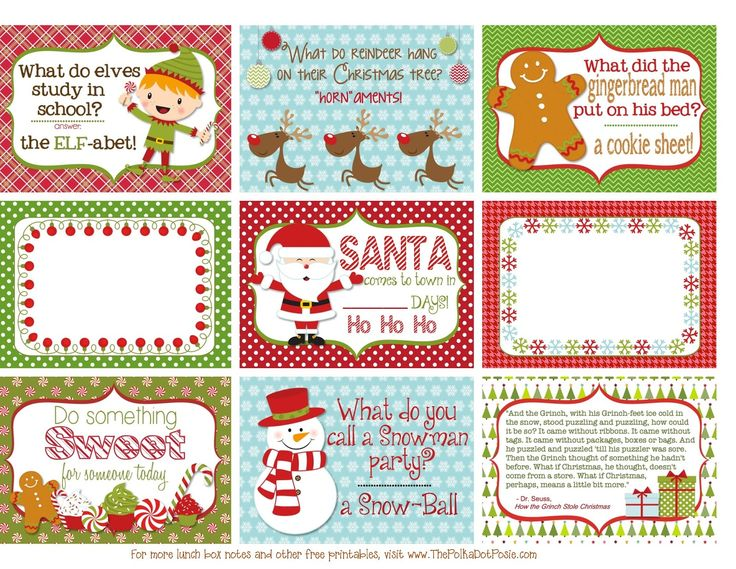 free printable christmas lunch box notes from thepolkadotposieprintables