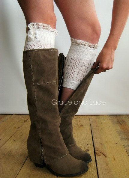 Dainty Lace Boot Cuffs - IVORY strechy knit boot topper lace trim & buttons - faux legwarmers - lace cuff - leg warmers