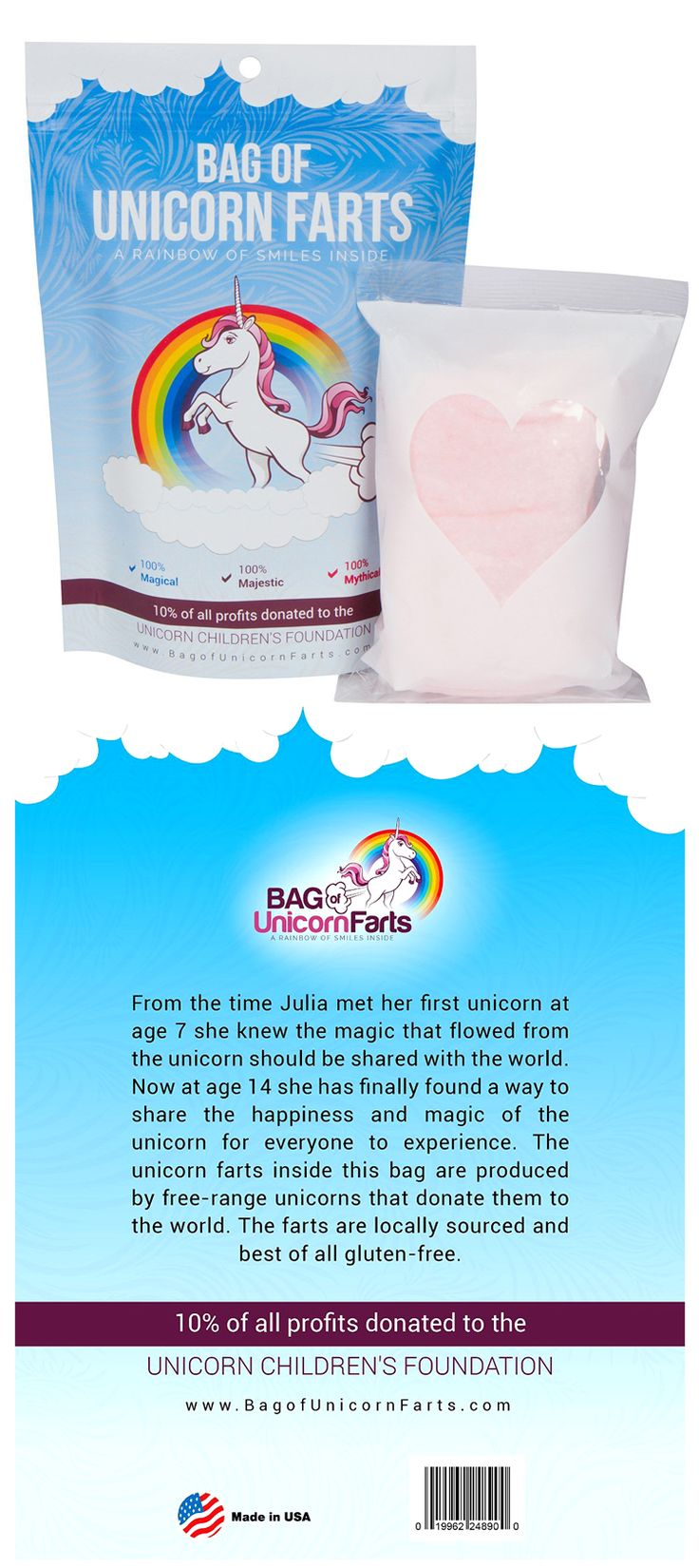 Unicorns and cotton candies are always in kid's hearts. Check it out==> | A Bag of Unicorn Farts (Cotton Candy) For A Cause | http://gwyl.io/bag-unicorn-farts-cotton-candy-cause/