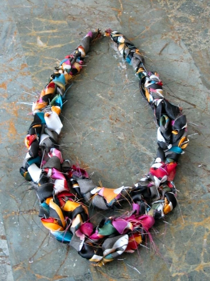 DIY silk scarf into necklace.  Def. doing this - I need a trip to the thrift store!