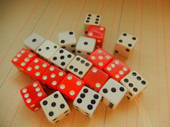 21 Piece Vintage Die Dice Red White Game Piece Destash Lot