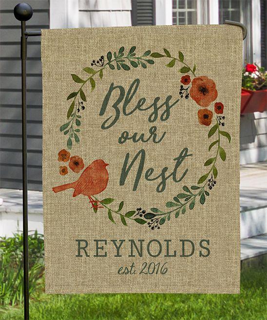 Burlap 'Bless Our Nest' Personalized Garden Flag